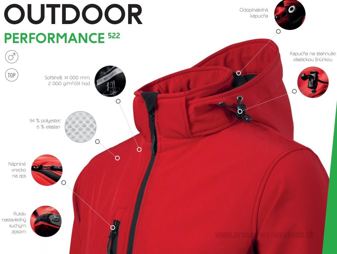 Pracovné odevy-522 softshellové bundy pánske PERFORMANCE ADLER ... 3896c396920