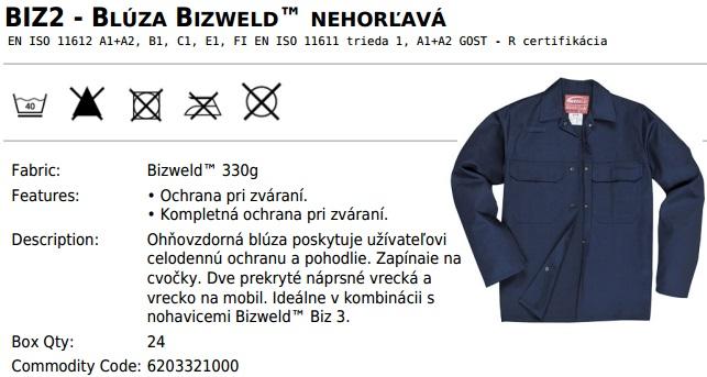 85c14e63f45 Pracovné odevy-Zváračská blúza Bizweld BIZ2 PORTWEST