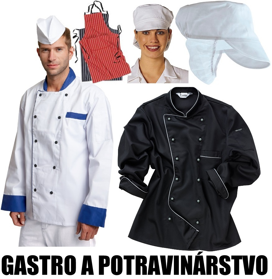 Pracovné odevy - gastro odevy, potravinátstvo, rondony, pracovné blúzy