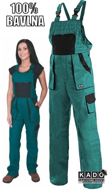 16f433927dce Pracovné odevy - Dámske nohavice s náprsenkou CXS LUXY SABINA zelené ...