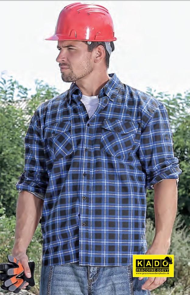 3d5e62b3026c Pracovné odevy - flanelová bavlnená košeľa TOM CXS modrá