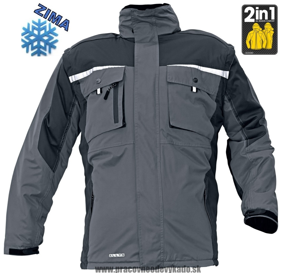 Pracovné odevy - zimná BUNDA ALLYN 2V1 sivá  2fc232c98bb