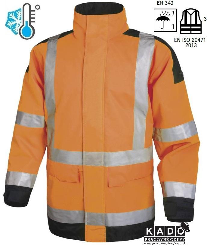 Pracovné odevy - Reflexná zateplená bunda EASYVIEW DELTAPLUS oranžová ea3b18045b1