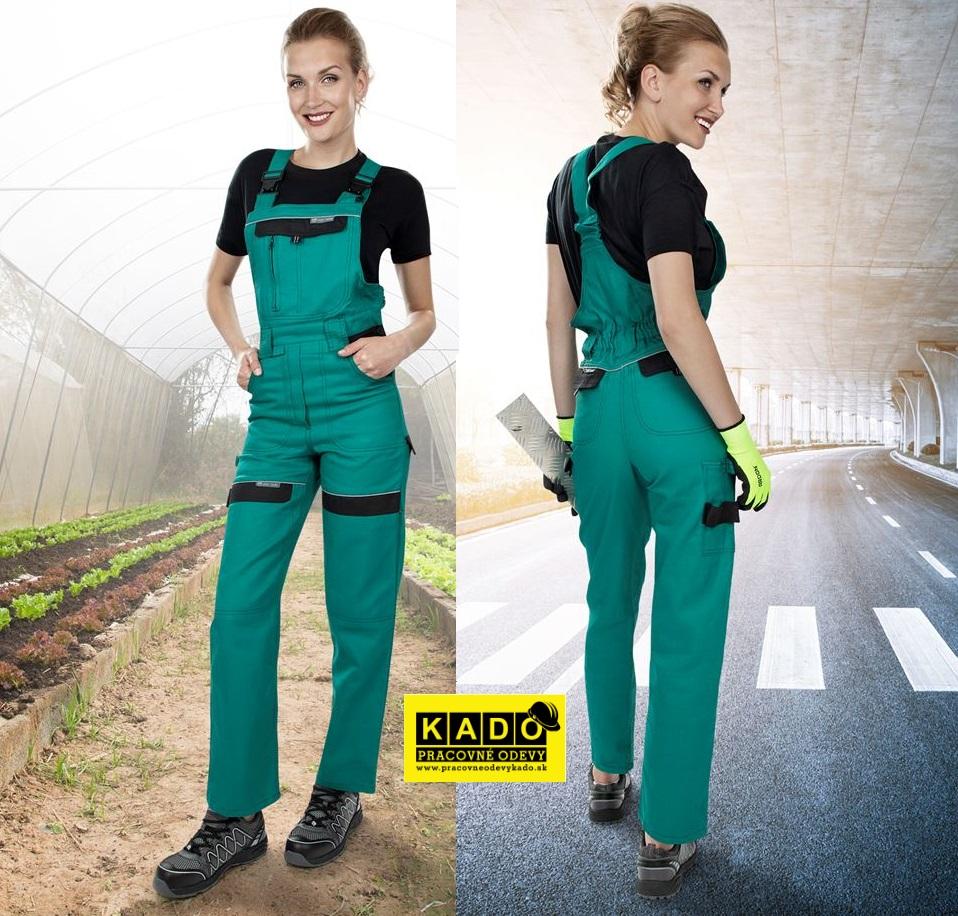 e3a12176be6d2 Dámske nohavice s náprsenkou COOL TREND WOMAN zeleno/čierne ...
