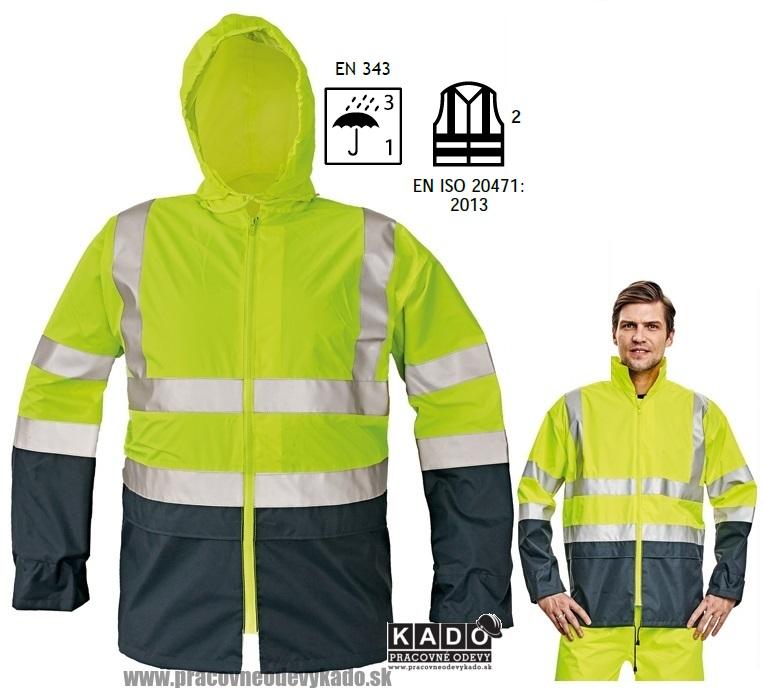 Pracovné odevy - Reflexná vodeodolná bunda EPPING ČERVA ŽLTÁ TMAVOMODRÁ 9a0099c20e3