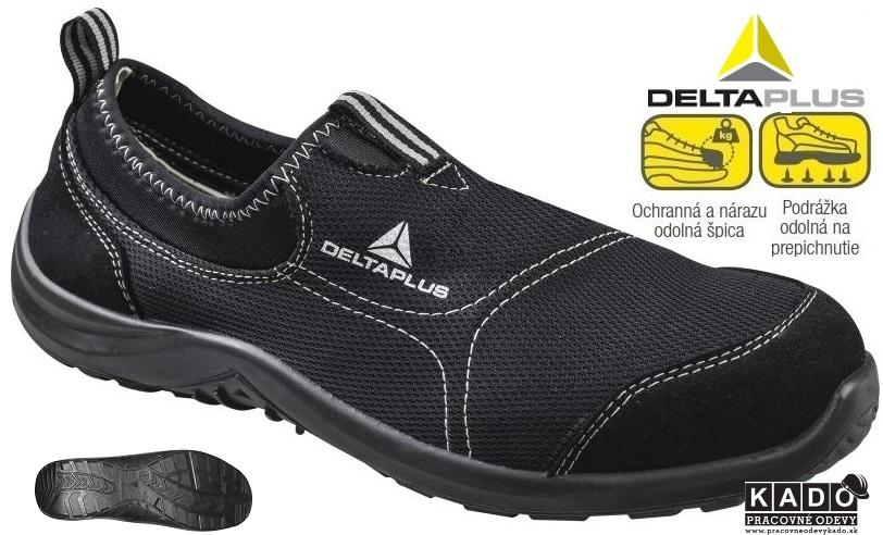 Bezpečnostná priedušná obuv MIAMI S1P DELTAPLUS ČIERNA  7c5fa22183d