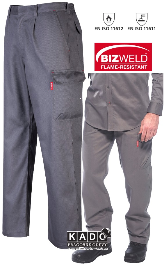 08a4783cabd Pracovné odevy-Zváračské nohavice BZ31 Bizweld Cargo Portwest sivé ...