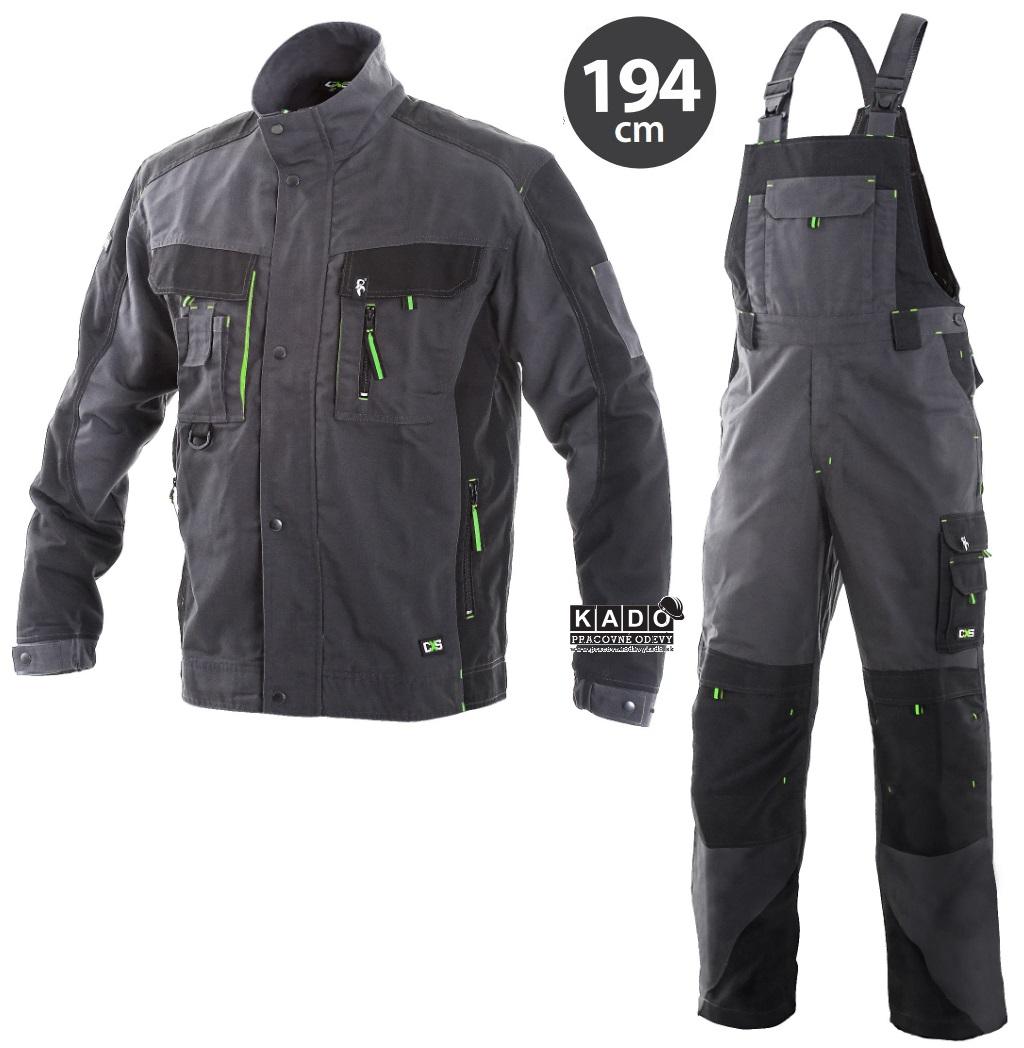 be9f07bd4b61 Pracovné odevy-Predĺžená monterková súprava SIRIUS CXS na traky šedo-zelená