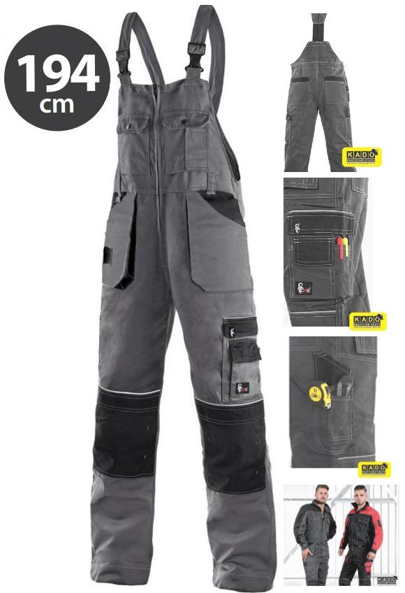 09e4f2a29176 Pracovné odevy-predĺžené nohavice ORION KRYŠTOF CXS s náprsenkou šedo-čierne