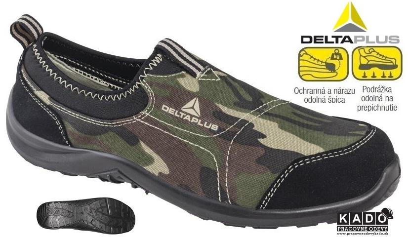 Bezpečnostná priedušná obuv MIAMI S1P DELTAPLUS maskáčová  675da1a5a14