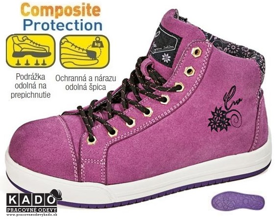 b8f07fd0ef408 Dámska bezpečnostná obuv WUJA S1P SRA členková fialová | PRACOVNÉ ...