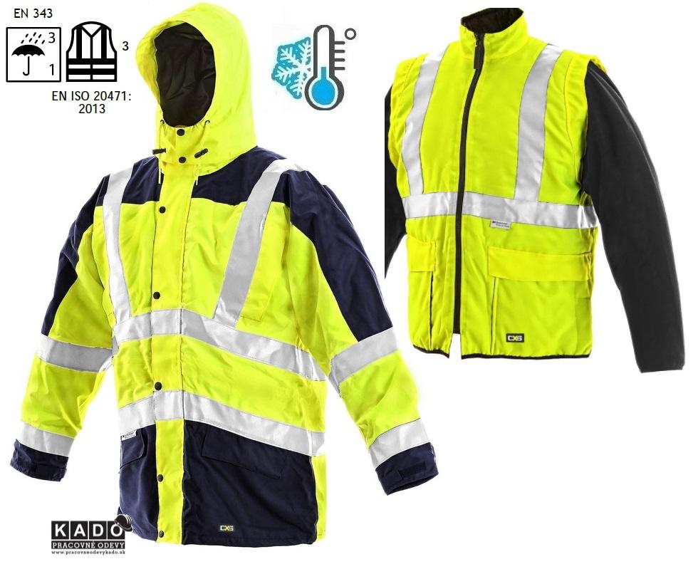 Pracovné odevy - reflexná bunda LONDON CXS 5V1 ŽLTÁ TMAVOMODRÁ ... fdbb8494ed2