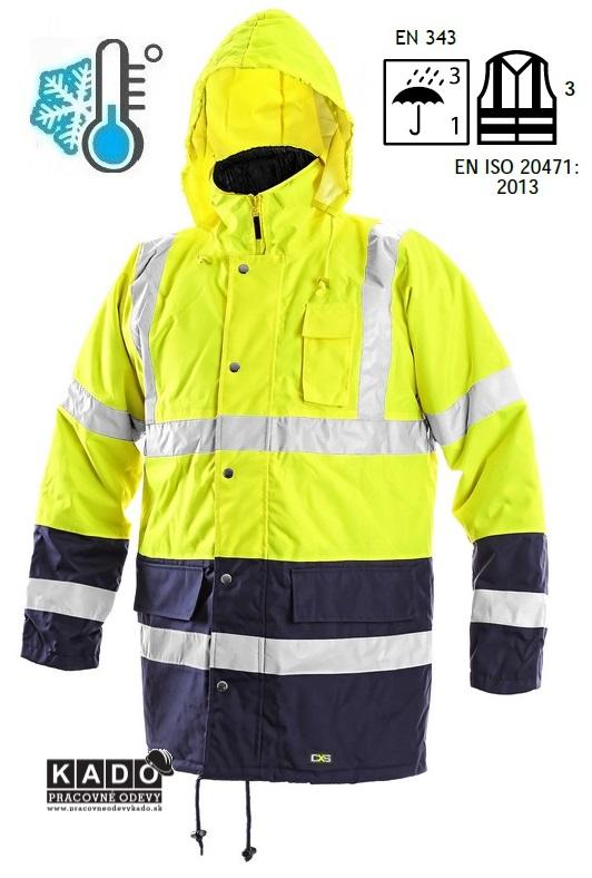 Pracovné odevy - reflexná bunda OXFORD CXS ŽLTÁ TMAVOMODRÁ ... c0f05c556db