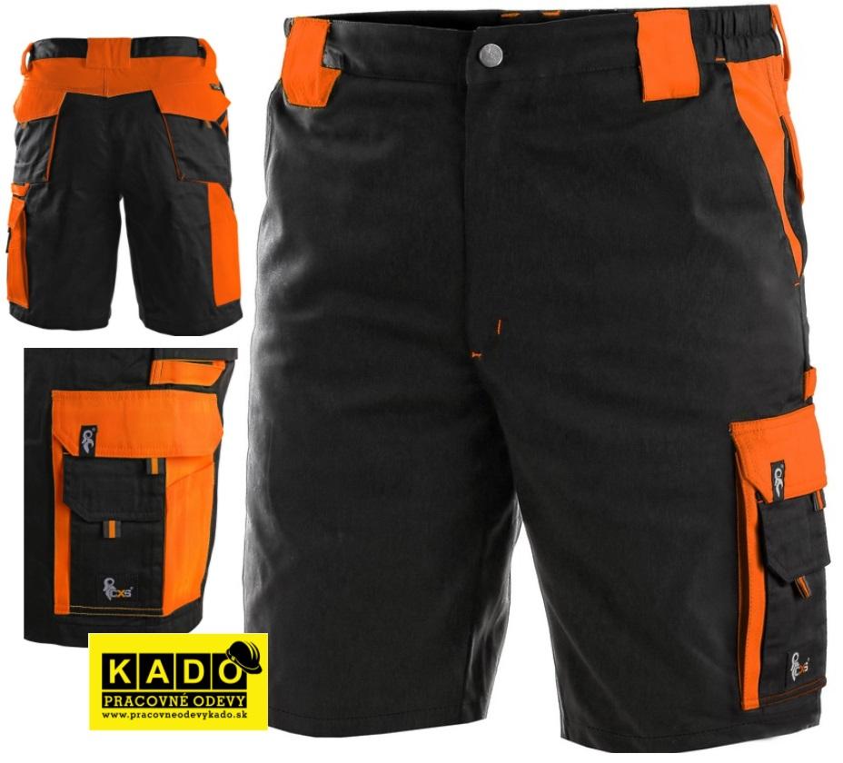 479ba0cd836 Pracovné odevy - Montérkové kraťasy SIRIUS BRIGHTON CXS čierno oranžové