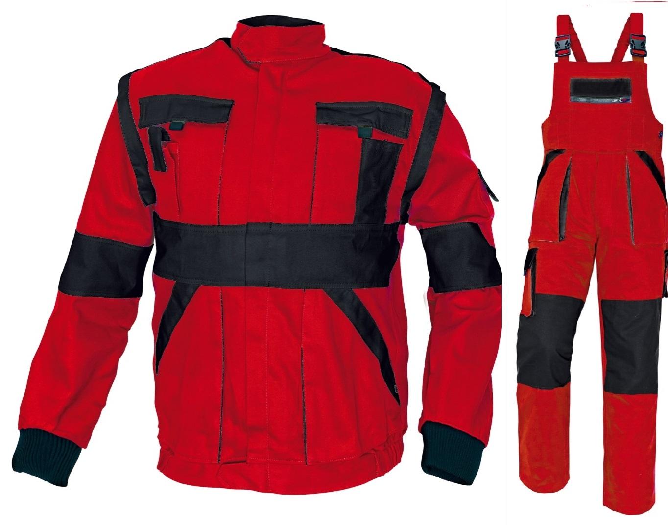 Pracovné odevy - Montérková súprava MAX traky cervena  čierna 1b3e6215882