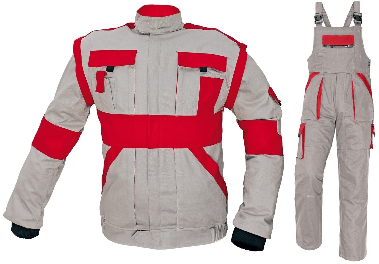 Pracovné odevy - Montérková súprava MAX traky siva červená 924c62607a6