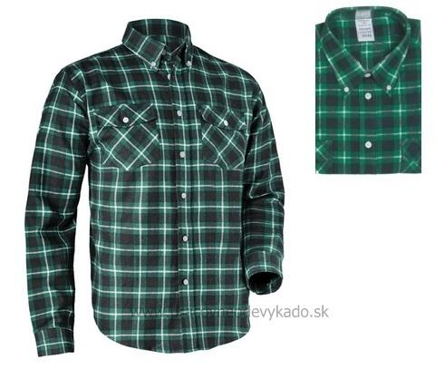 52c1ab3ac613 Pracovné odevy - flanelová bavlnená košeľa TOM CXS zelená