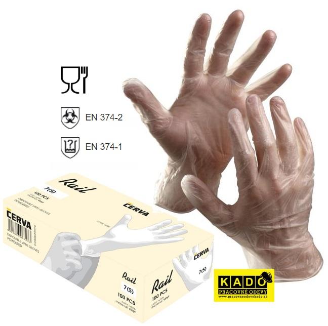 3573ae30343 Pracovné jednorázové vinylové rukavice RAIL ČERVA