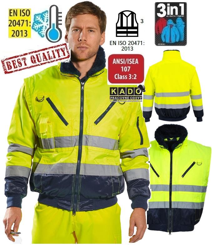 f065e5478 Pracovné odevy-Reflexná bunda PW PJ50 3V1 žltá/tmavomodrá