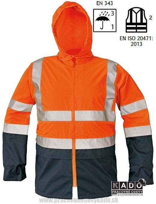8201cb0f319 Pracovné odevy - Reflexná vodeodolná bunda EPPING ČERVA ORANŽOVÁ TMAVOMODRÁ