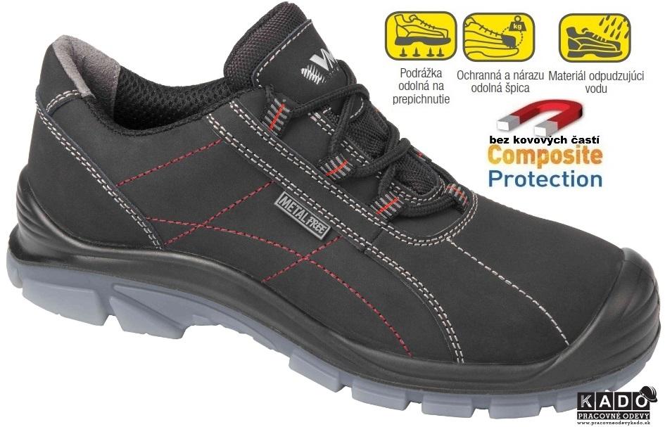 Bezpečnostná obuv VM MIAMI 5125-S3 poltopánky NON METALIC čierny 9f5c03e7f56