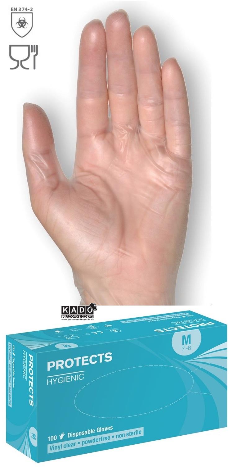 604bf8d4ba4 Pracovné VINYLOVÉ rukavice jednorázové protects HYGIENIC číre