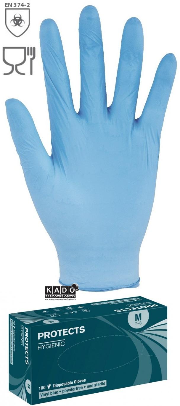 c4cf7b28be0 Pracovné VINYLOVÉ rukavice jednorázové protects HYGIENIC modré