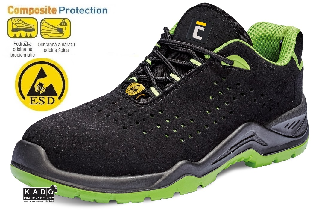 AKCIA Bezpečnostná obuv - Halwill S1P poltopánky ESD SRC čierno zelené 0ce3286a127