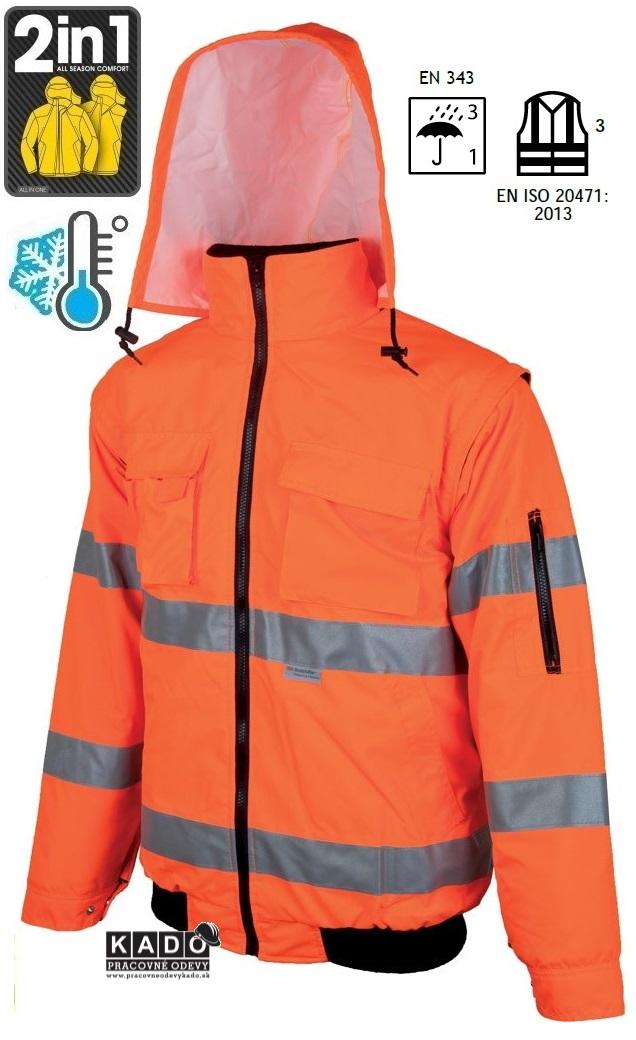 46955ff6053 Pracovné odevy - Zateplená Reflexná bunda HOWARD ARDON 2V1 PILOT ORANŽOVÁ