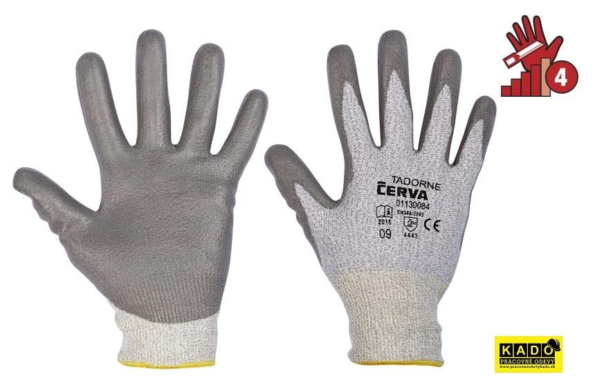 AKCIA Pracovné protiporezné rukavice TADORNE ruk.CUT 4 HPPE CERVA d344f25dc14