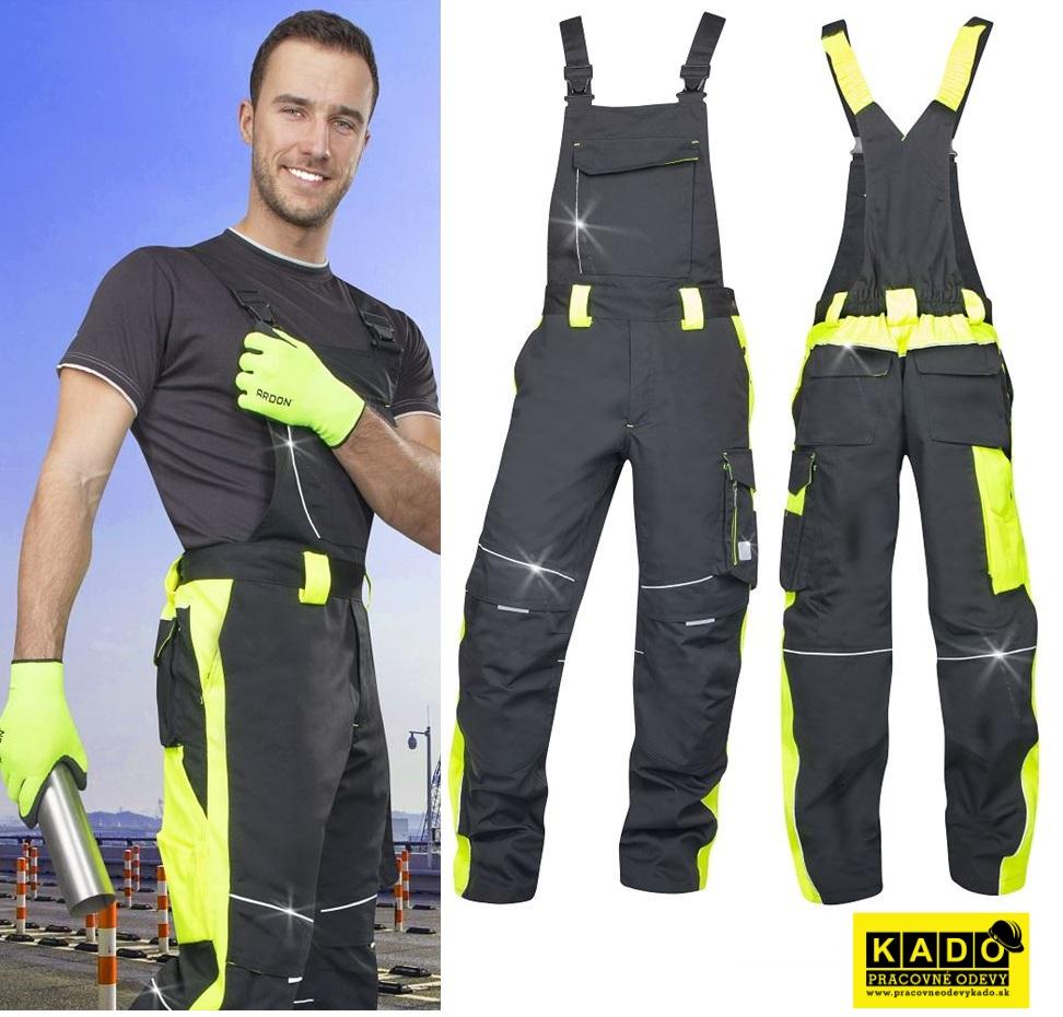 c8feee25447e Montérkové nohavice s náprsenkou NEON ARDON čierno žlté