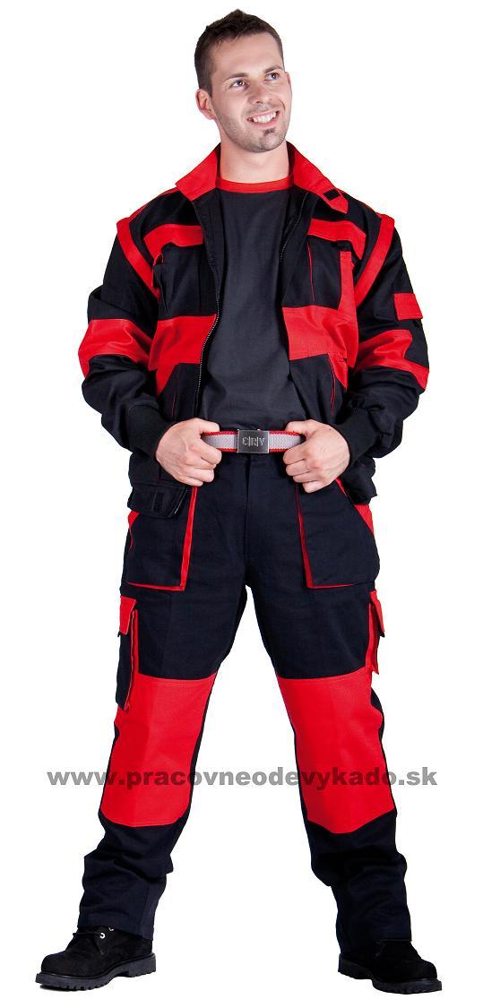 Pracovné odevy - Montérková súprava MAX traky čierno-červená 18927a105c3