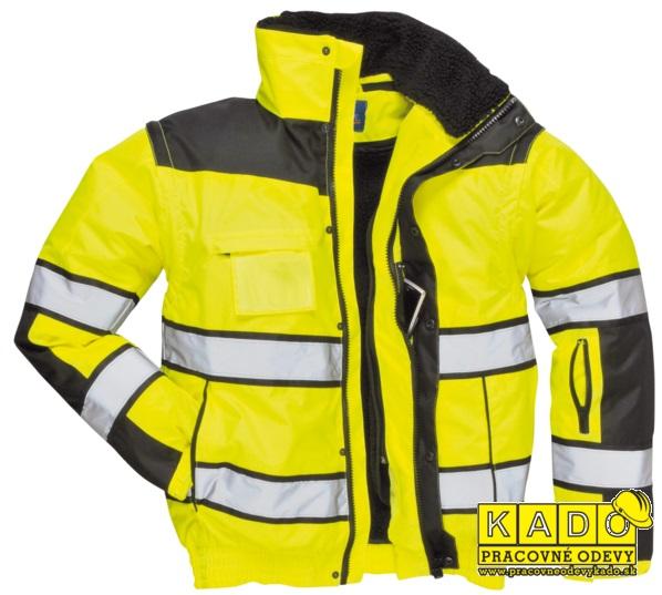 ed1300db4b8a Pracovné odevy-Reflexná bunda c466 PW hi-Vis Classic bomber 3v1 žltá čierna
