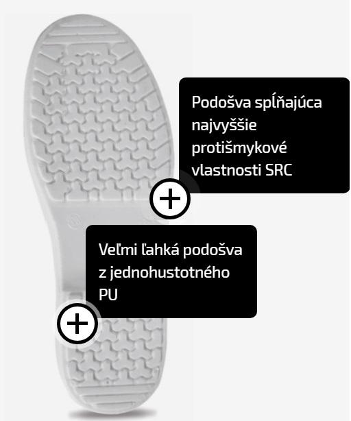 e62c0e3a1ad4 Pracovná obuv - sandále RAVEN WHITE SLIPPER OB biele