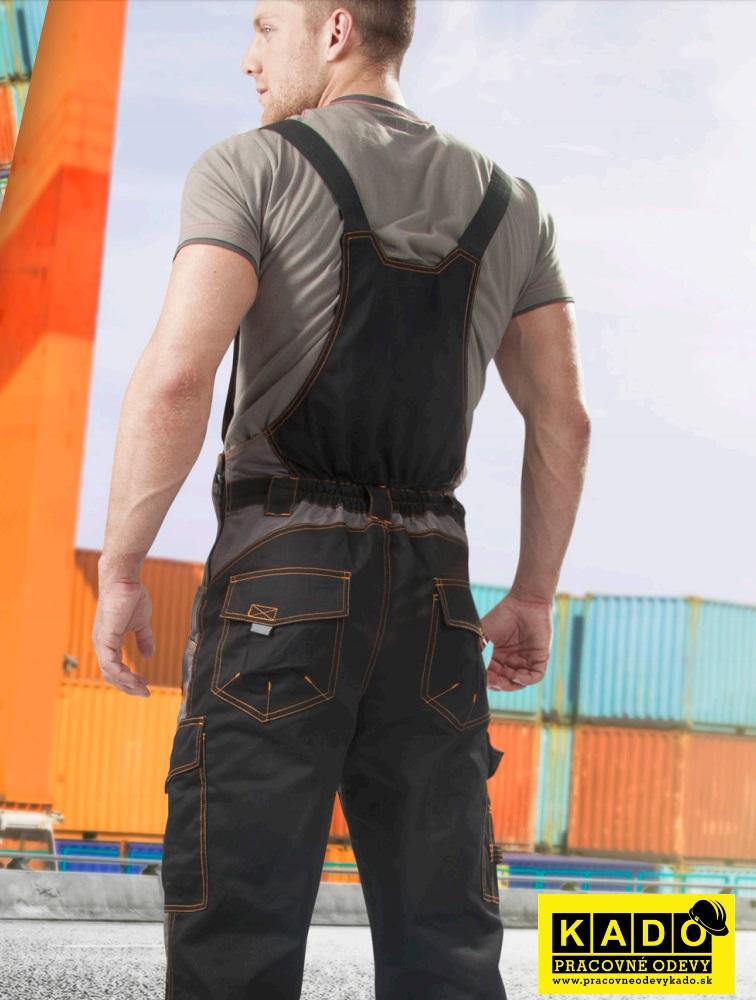 f71e9d737b46a Montérkové nohavice VISION 03 s náprsenkou ČIERNO/SIVÉ 182cm ...